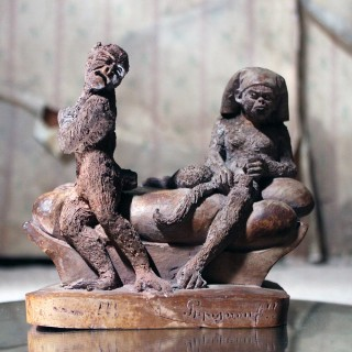 A Mid-19thC French Terracotta Comical Animalier Group of Two Monkeys c.1860-70