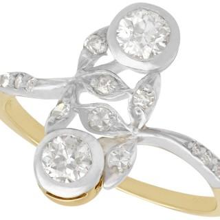 0.60 ct Diamond and 14 ct Yellow Gold Dress Ring - Antique Austrian Circa 1910