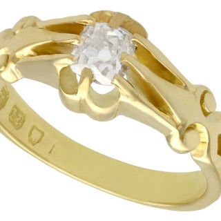 0.54 ct Diamond and 18 ct Yellow Gold Solitaire Ring - Antique