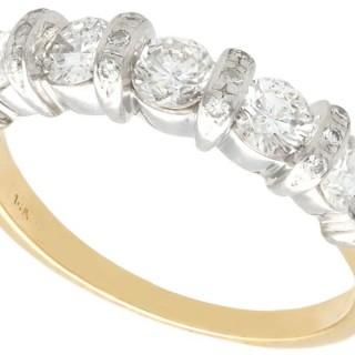 0.80 ct Diamond and 14 ct Yellow Gold Half Eternity Ring - Vintage Circa 1990