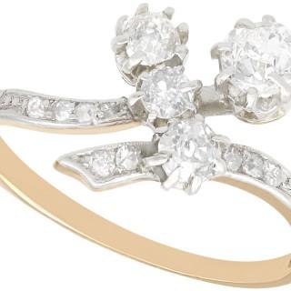 0.87 ct Diamond and 14 ct Yellow Gold, Platinum Set Dress Ring - Antique Circa 1900