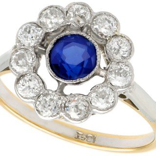 0.68ct Sapphire and 0.65ct Diamond, 18ct Yellow Gold Cluster Ring - Antique Circa 1930