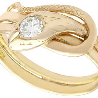 0.25ct Diamond and 14ct Yellow Gold 'Snake' Ring - Antique Circa 1900