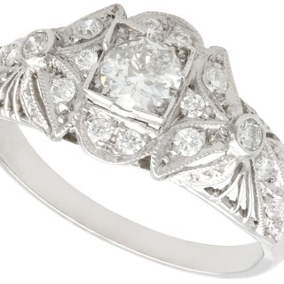 0.65ct Diamond and Platinum Dress Ring - Vintage Circa 1950