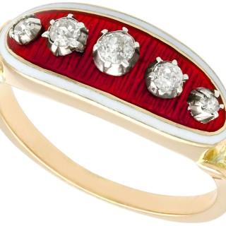 0.31 ct Diamond and Enamel, 18 ct Yellow Gold Dress Ring - Antique Circa 1890