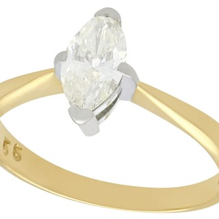 0.56 ct Diamond and 18 ct Yellow Gold Solitaire Ring - Vintage Circa 1990