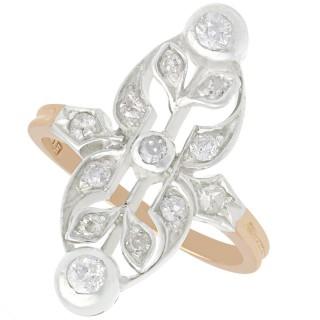 0.40 ct Diamond and 12 ct Rose Gold Dress Ring - Antique Circa 1880