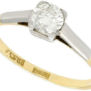 0.60 ct Diamond and 18 ct Yellow Gold Solitaire Ring - Antique Circa 1930