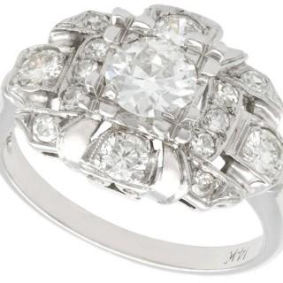 1.80ct Diamond and 14ct White Gold Dress Ring - Art Deco - Antique Circa 1920