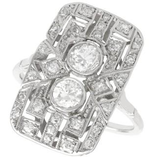 1.49 ct Diamond and Platinum Dress Ring - Art Deco - Antique Circa 1920