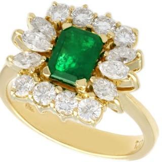 0.81 ct Emerald and 1.32 ct Diamond, 18 ct Yellow Gold Dress Ring - Vintage Circa 1980