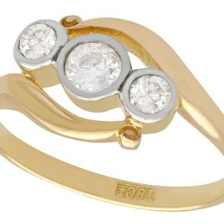 0.58 ct Diamond and 18 ct Yellow Gold Dress Ring - Antique Circa 1930