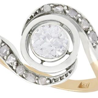 0.60 ct Diamond and 18 ct Yellow Gold Twist Ring - Antique Circa 1900
