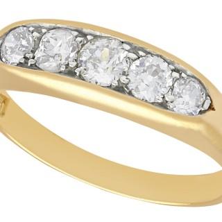 0.80 ct Diamond and 18 ct Yellow Gold Dress Ring - Vintage Circa 1940