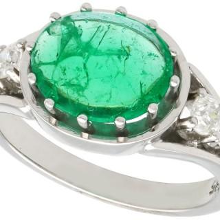 2.72ct Emerald and 0.72ct Diamond, 14ct White Gold Dress Ring - Vintage Circa 1950