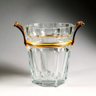 Baccarat Harcourt Glass and Gilt Bronze Champagne Cooler