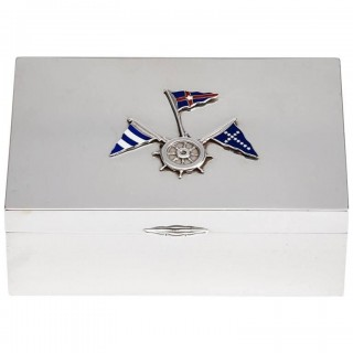 Mid-20th Century Silver Box with Nautical Silver and Enamel Flag Decoration