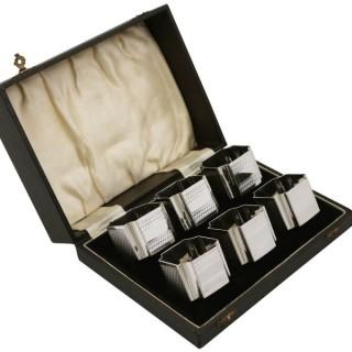 Sterling Silver Napkin Rings - Boxed - Art Deco - Vintage George VI