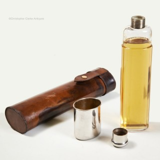 Glass Spirit or Hip Flask in Case