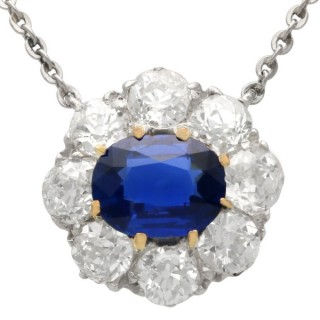 1.01 ct Sapphire and 1.76 ct Diamond, 18 ct Yellow Gold Pendant - Antique Circa 1900