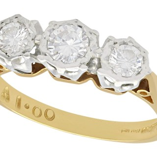 0.56 ct Diamond and 18 ct Yellow Gold Trilogy Ring - Vintage Circa 1980