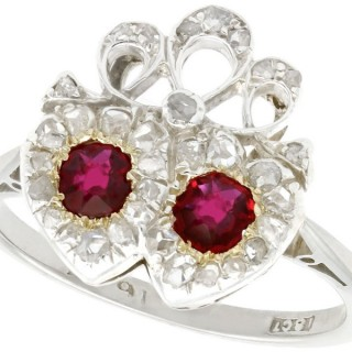 0.60 ct Ruby and 0.60 ct Diamond, 18 ct White Gold Dress Ring - Antique Victorian Circa 1880