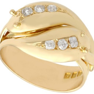 0.54ct Diamond and 18 ct Yellow Gold Snake Dress Ring - Antique George V (1931)
