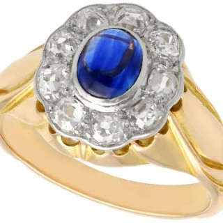 0.71 ct Sapphire and 0.81 ct Diamond, 14 ct Yellow Gold Cluster Ring - Antique Circa 1920