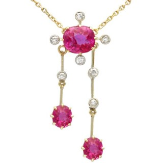 2.29 ct Ruby and 0.21 ct Diamond, 15 ct Yellow Gold Necklace - Antique Circa 1900