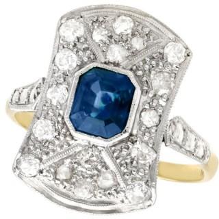 1.20 ct Sapphire and 0.68 ct Diamond, 18 ct Yellow Gold Ring - Antique Circa 1920