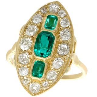 1.76ct Emerald and 2.05ct Diamond, 18ct Yellow Gold Marquise Ring - Antique Circa 1930