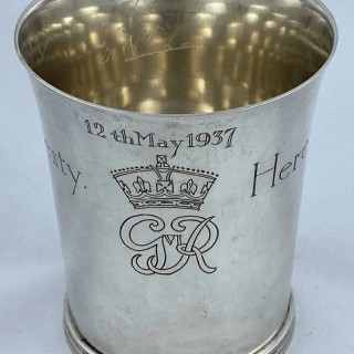Hallmarked Sterling silver Beaker made for the coronation of George VI in 1936 by Dodd of London.
