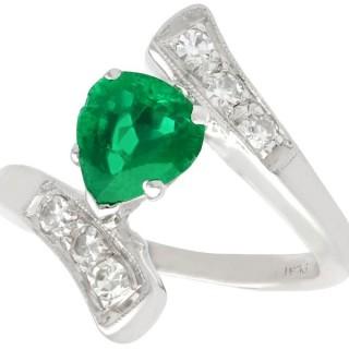 0.89 ct Emerald and 0.24 ct Diamond, Platinum Dress Ring - Vintage Circa 1950