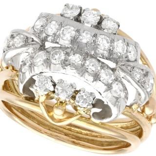 0.68ct Diamond and 18ct Yellow Gold Dress Ring - Vintage Circa 1950