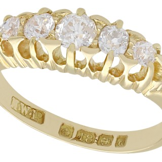 0.78 ct Diamond and 18 ct Yellow Gold Five Stone Ring - Antique 1903