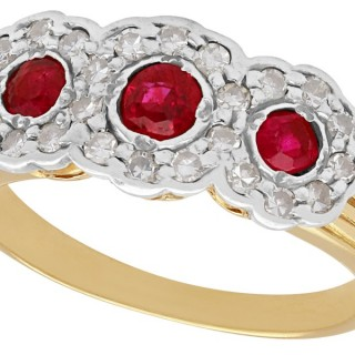 0.43 ct Ruby and 0.56 ct Diamond, 18 ct Yellow Gold Dress Ring - Antique Circa 1910