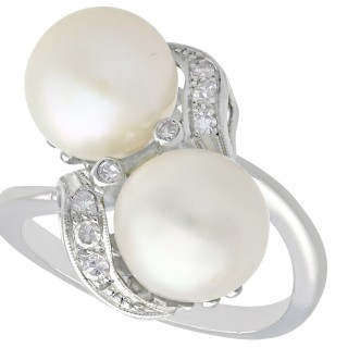 Pearl and 0.12 ct Diamond, 10 ct White Gold Cocktail Ring - Vintage Circa 1950