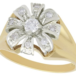 0.41 ct Diamond and 14 ct Yellow Gold Cluster Ring - Vintage Circa 1950
