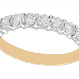 1.24 ct Diamond and 18 ct Yellow Gold Half Eternity Ring - Vintage Circa 1990
