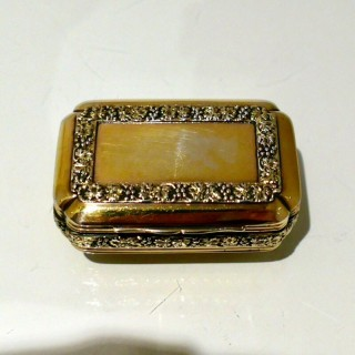 Early 19th Century Antique George III Sterling Silver Gilt Snuff Box London 1814 Thomas Pemberton & Robert Mitchill