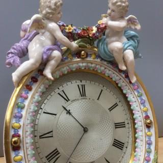 Victorian Meissen Porcelain Strut Mantel Clock