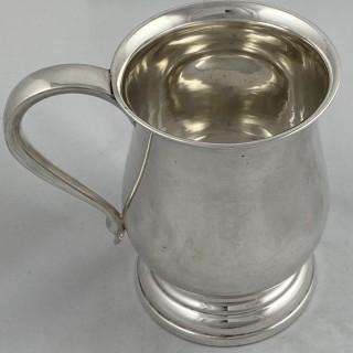 A Hallmarked Sterling Silver plain baluster pint Mug / Tankard 1931 James Gloster of Birmingham