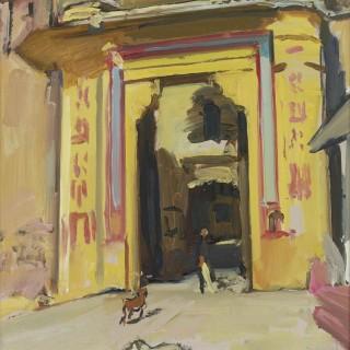 'Dogs at the Palace Gate, Bundi, Rajasthan' by Luke Martineau (born 1970)