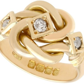 0.31 Diamond and 18ct Yellow Gold Love Knot Cocktail Ring - Antique 1913
