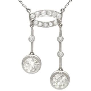 3.33 ct Diamond and Platinum Necklace - Antique Circa 1920