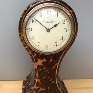 Edwardian Tortoiseshell Balloon Mantle Clock