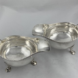 Pair of Antique Sterling Silver George III Sauceboats made in 1780 by William Stephenson of London.