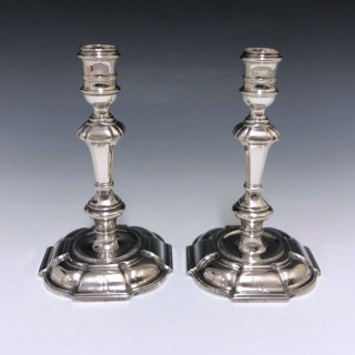 A pair of George II Antique Sterling Silver Cast Candlesticks made in 1735 by Simon Jouet