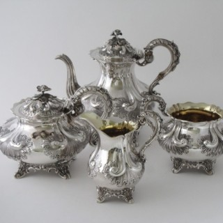 Antique Victorian Sterling silver four piece tea and coffee set