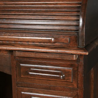Antique English Edwardian 4ft Solid Oak D Shape Roll Top Pedestal Office Desk (Circa 1910)